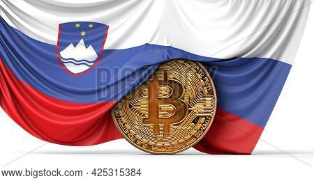 Slovenia Flag Draped Over A Bitcoin Cryptocurrency Coin. 3d Rendering