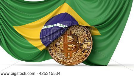 Brazil Flag Draped Over A Bitcoin Cryptocurrency Coin. 3d Rendering