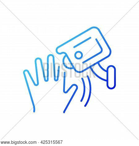 Motion Detection Camera Gradient Linear Vector Icon. Security Control. Detecting Human Movement. Rec