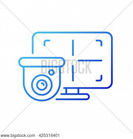 Cctv Monitor Gradient Linear Vector Icon. Device For Surveillance Video In Real-time Display. Visual