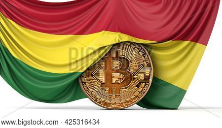 Bolivia Flag Draped Over A Bitcoin Cryptocurrency Coin. 3d Rendering