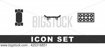 Set Longboard Or Skateboard, Skateboard And Wheel Icon. Vector