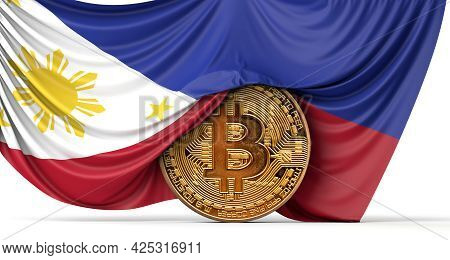 Philippines Flag Draped Over A Bitcoin Cryptocurrency Coin. 3d Rendering