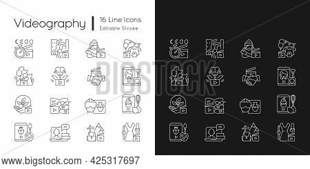 Videography Linear Icons Set For Dark And Light Mode. Business Footage. Online Classes For Education
