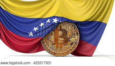 Venezuela Flag Draped Over A Bitcoin Cryptocurrency Coin. 3d Rendering