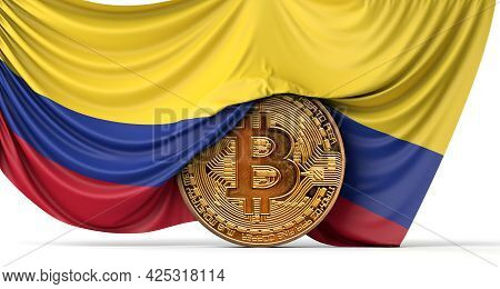 Colombia Flag Draped Over A Bitcoin Cryptocurrency Coin. 3d Rendering
