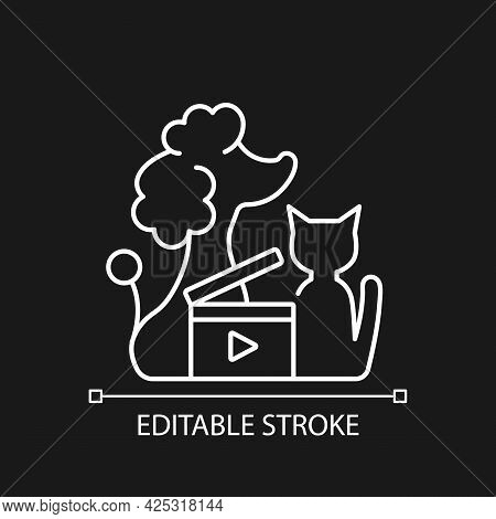 Pet Videos White Linear Icon For Dark Theme. Online Content With Domestic Animals. Cats Vlog. Thin L