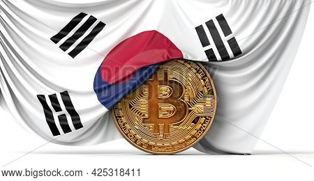 Korea Flag Draped Over A Bitcoin Cryptocurrency Coin. 3d Rendering