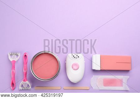 Set Of Epilation Products On Lilac Background, Flat Lay. Space For Text