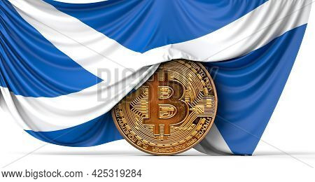 Scotland Flag Draped Over A Bitcoin Cryptocurrency Coin. 3d Rendering
