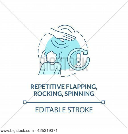 Repetitive Flapping, Rocking, Spinning Concept Icon. Autism Symptom Abstract Idea Thin Line Illustra