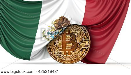 Mexico Flag Draped Over A Bitcoin Cryptocurrency Coin. 3d Rendering