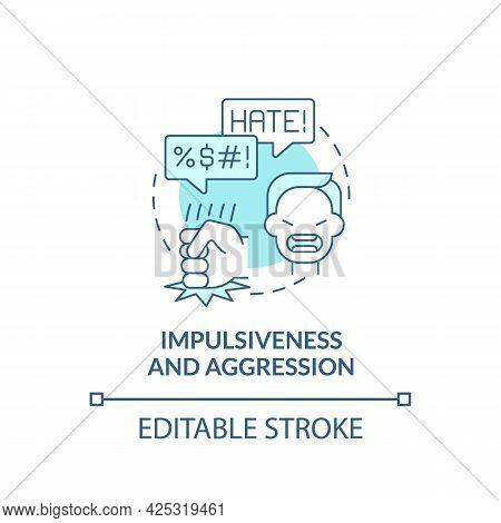 Aggressive And Impulsive Behaviors Concept Icon. Autism Sign Abstract Idea Thin Line Illustration. D