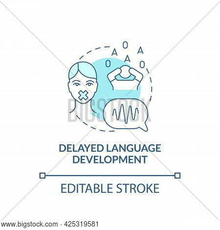 Delayed Language Development Concept Icon. Autism Sign Abstract Idea Thin Line Illustration. Using S