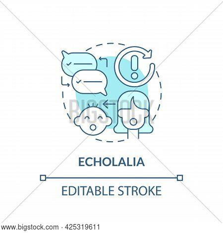 Echolalia Concept Icon. Autism Sign Abstract Idea Thin Line Illustration. Repetitive Speech. Precise