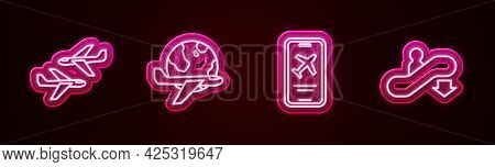 Set Line Plane, Globe With Flying Plane, Mobile Ticket And Escalator Down. Glowing Neon Icon. Vector
