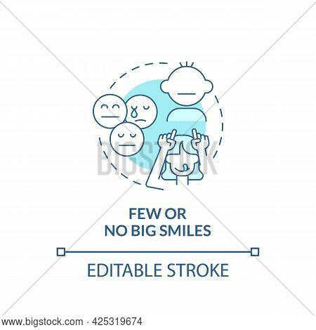 Few And No Big Smiles Concept Icon. Autism Sign In Kids Abstract Idea Thin Line Illustration. Having