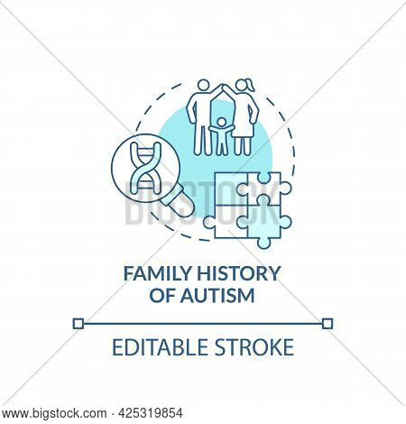 Family Autism History Concept Icon. Autism Risk Factor Abstract Idea Thin Line Illustration. Intelle