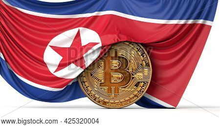 North Korea Flag Draped Over A Bitcoin Cryptocurrency Coin. 3d Rendering