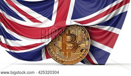 Uk Flag Draped Over A Bitcoin Cryptocurrency Coin. 3d Rendering