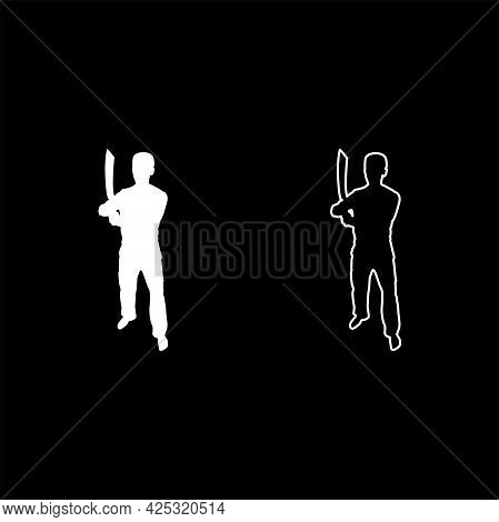 Man With Sword Machete Cold Weapons In Hand Military Man Soldier Serviceman In Various Positions Hun