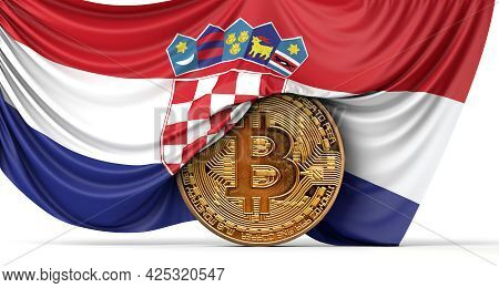 Croatia Flag Draped Over A Bitcoin Cryptocurrency Coin. 3d Rendering
