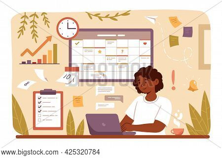 Woman Planning Day, Scheduling Appointments On Laptop In Calendar Application Or Website. Business W