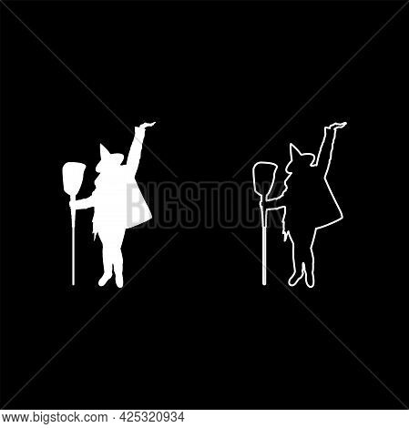Fairy Wizard Witch Holding Broom Subject For Halloween Concept Silhouette White Color Vector Illustr