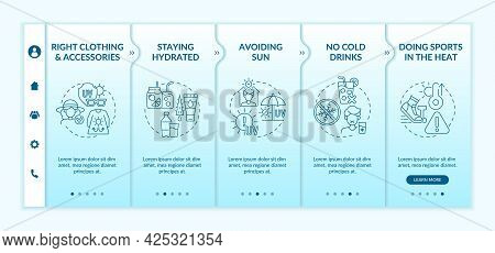 Heat Exhaustion Prevention Onboarding Vector Template. Responsive Mobile Website With Icons. Web Pag