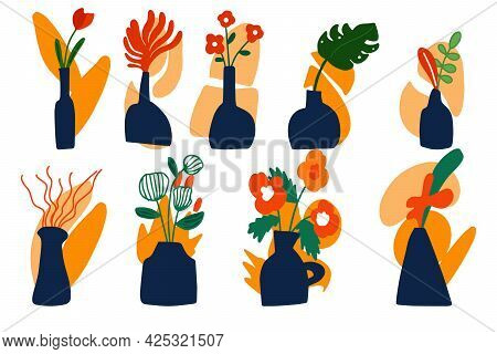 A Large Vector Set Of Abstract Vases With Flowers Drawn By Hand. Vases With Flowers On An Abstract B