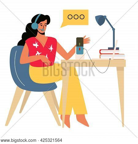 A Girl Records A Podcast At Her Desk, Audio Broadcast, Online Broadcast On Social Networks Or Work O