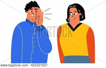 A Man In The Ear Tells A Friend A Story, Gossip, A Whisper Conversation, A Secret. Stylized Vector C