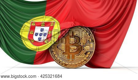 Portugal Flag Draped Over A Bitcoin Cryptocurrency Coin. 3d Rendering