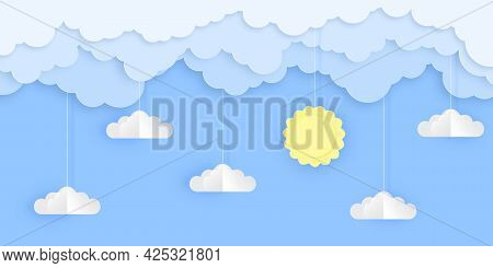 Beautiful Blue Sky With 3d Fluffy Clouds And Sun. Greeting Card, Background, Banner, Tourism Concept