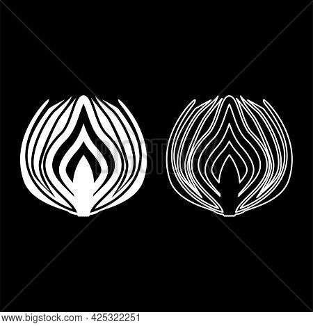 Onion Cut In Half Part Bulbs Chopped Sliced Vegetable Silhouette White Color Vector Illustration Sol