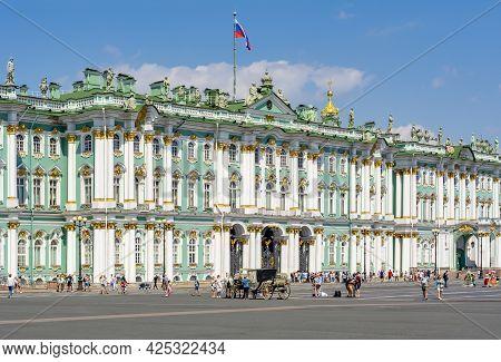 Saint Petersburg, Russia - June 2021: Winter Palace (hermitage Museum) On Palace Square