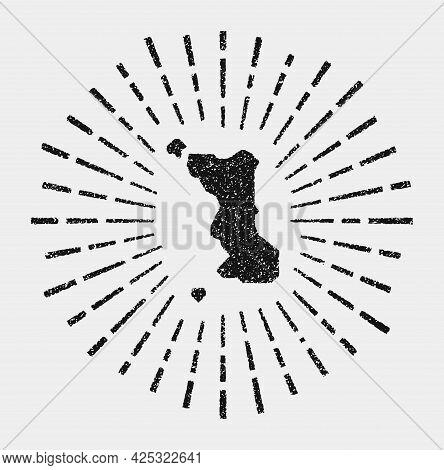 Vintage Map Of Malapascua Island. Grunge Sunburst Around The Island. Black Malapascua Island Shape W