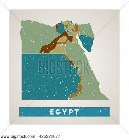 Egypt Map. Country Poster With Regions. Old Grunge Texture. Shape Of Egypt With Country Name. Captiv