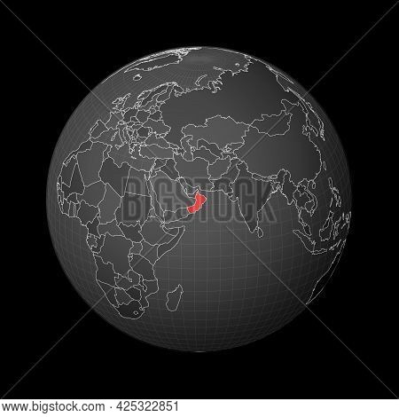 Dark Globe Centered To Oman. Country Highlighted With Red Color On World Map. Satellite World Projec