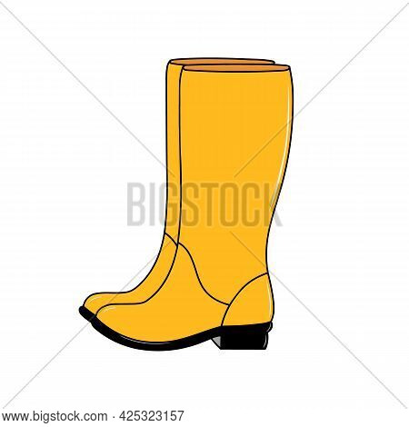 Pair Of Shiny Yellow Rubber Boots. Waterproof Footwear For Autumn Rainy Weather. Fashion Bright Gumb