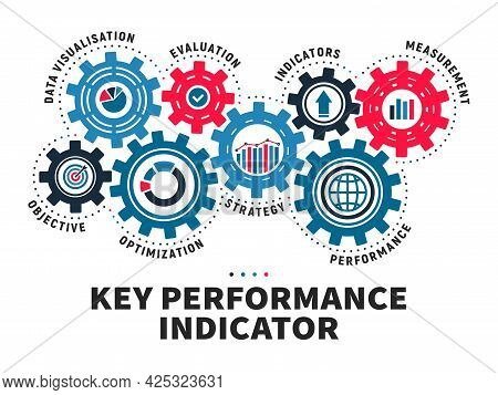 Key Performance Indicator Infographics. Business Processes, Company Strategy Planing And Data Analys