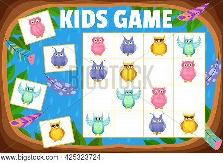 Kids Sudoku Game Cartoon Owls And Owlets, Tabletop Logic Puzzle, Vector. Sudoku Board Game For Child