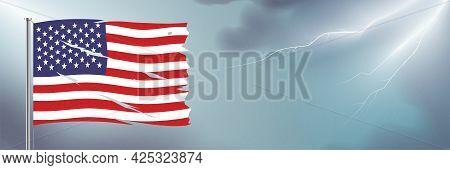 Usa Flag Waving On Lightning Sky Background.