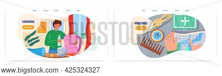 Hiking Landing Page Design, Website Banner Vector Template Set. Hiker Packing Tourist Backpack With