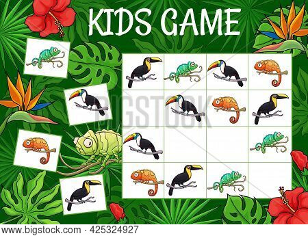 Kids Sudoku Game Cartoon Chameleons And Toucans In Jungle. Vector Riddle With Tropical Animals Chara