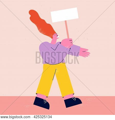 Protest, Demonstration, Parade Concept. Woman Activist Holding Placard, Strike Concept, Person Prote