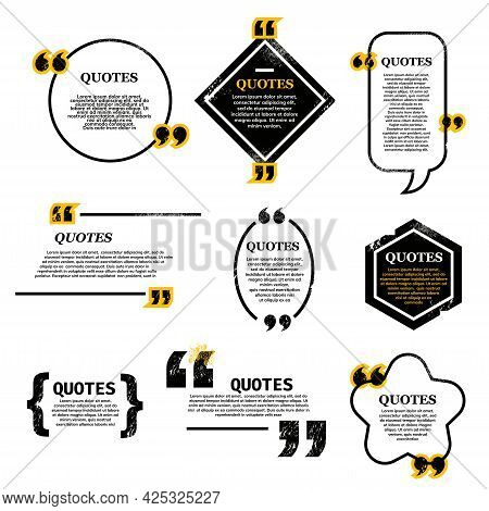 Quote Bubble And Box, Chat Message, Comment And Note Quote Icons. Vector Set Of Various Quotes And S