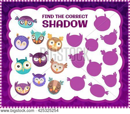 Find The Correct Owl Bird Shadow, Kids Education Riddle Game. Cartoon Vector Worksheet For Logical M