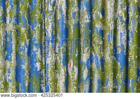 Colorful Motley Peeled Off Paint Layers On Corrugated Zinc Coated Steel Sheet Texture