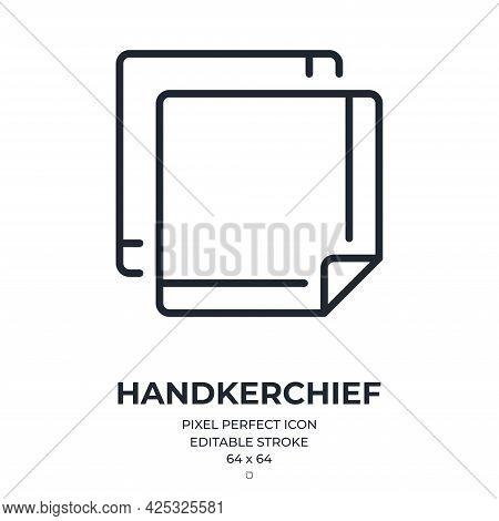 Handkerchief Editable Stroke Outline Icon Isolated On White Background Flat Vector Illustration. Pix